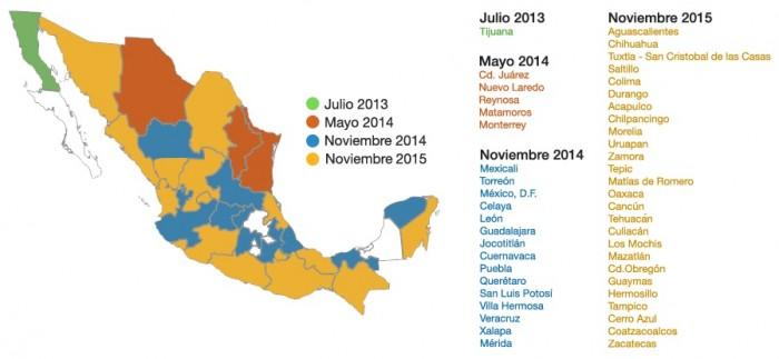 Mapa de apagón analógico en México