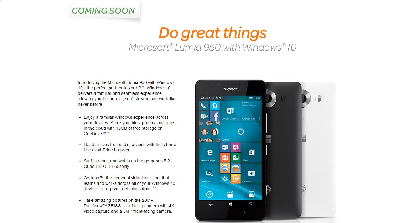 ATT venderá el Microsoft Lumia 950