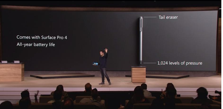 Surface Pen integrado dentro de la Surface Pro 4