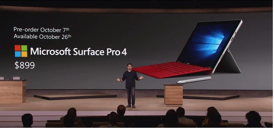 Microsoft Surface Pro 4 estará disponible desde $899 dolares