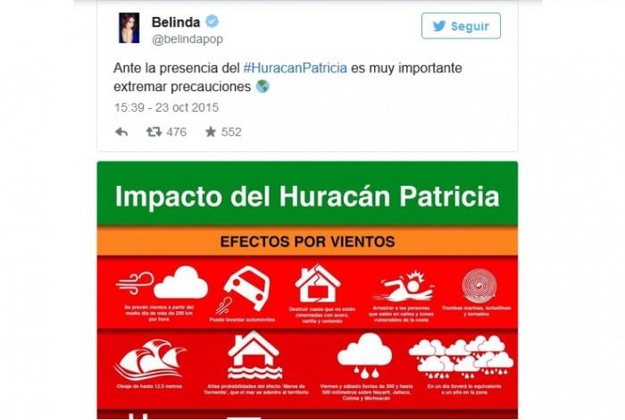 Tuit Belinda ante huracan Patricia