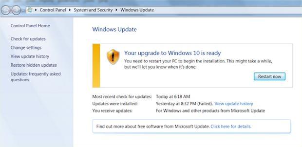 Windows Update solicita reiniciar el ordenador