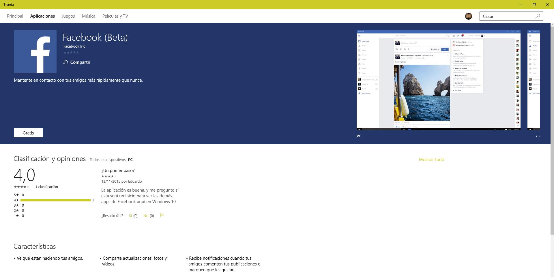 Facebook Beta disponible en la Tienda de Windows 10