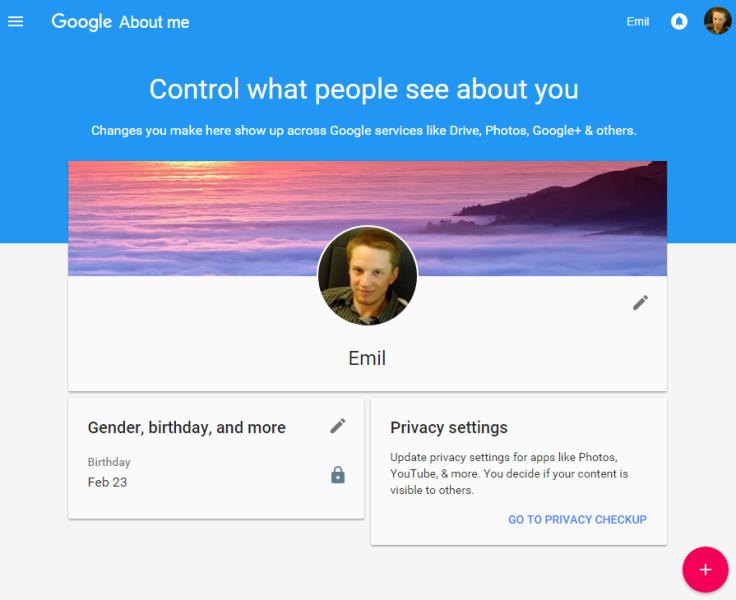 Interfaz de 'Sobre Mi' en Google