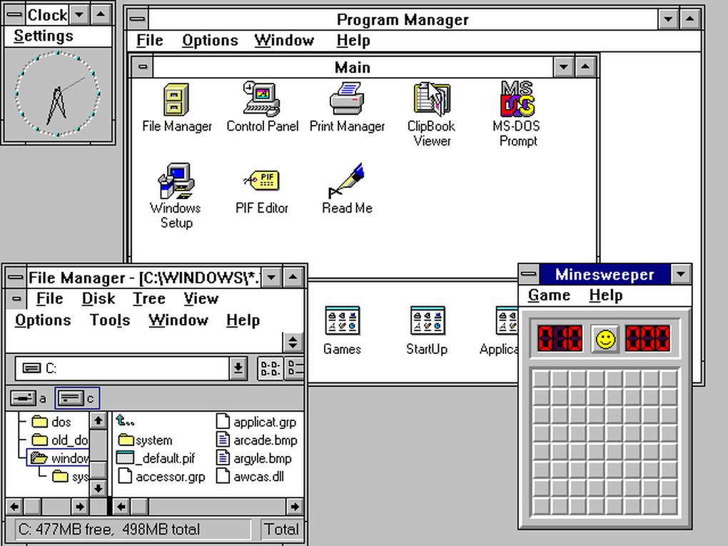 Windows 3.0 ofrecía una mejor interfaz e usuario, nuevos programas y un administrador de archivos