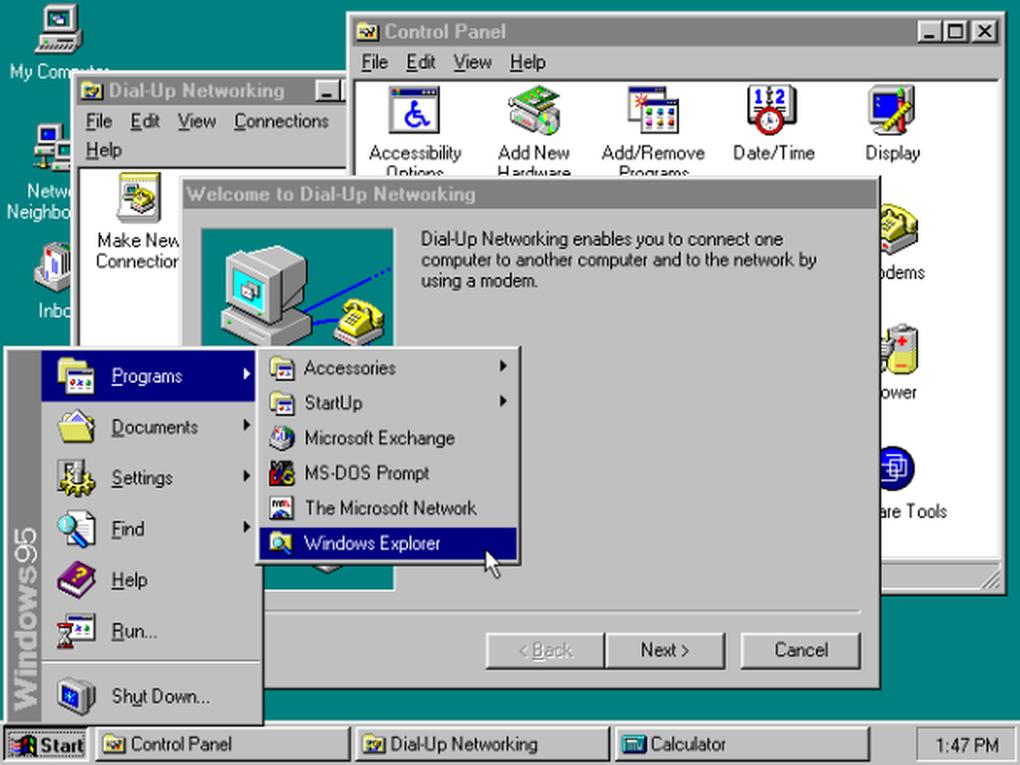 """Windows 95 ofrecía soporte a las arquitecturas de 32 bits e introdujo el """"Menú de Inicio"""""""