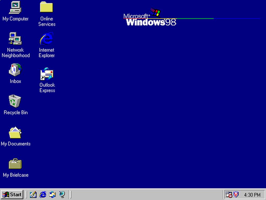 Windows 98 fue el sucesor de Windows 95 con mayor soporte en hardware y un mejor desempeño, añadiendo apps como Active Desktop, Outlook Express, Frontpage Express, Microsoft Chat, y NetMeeting