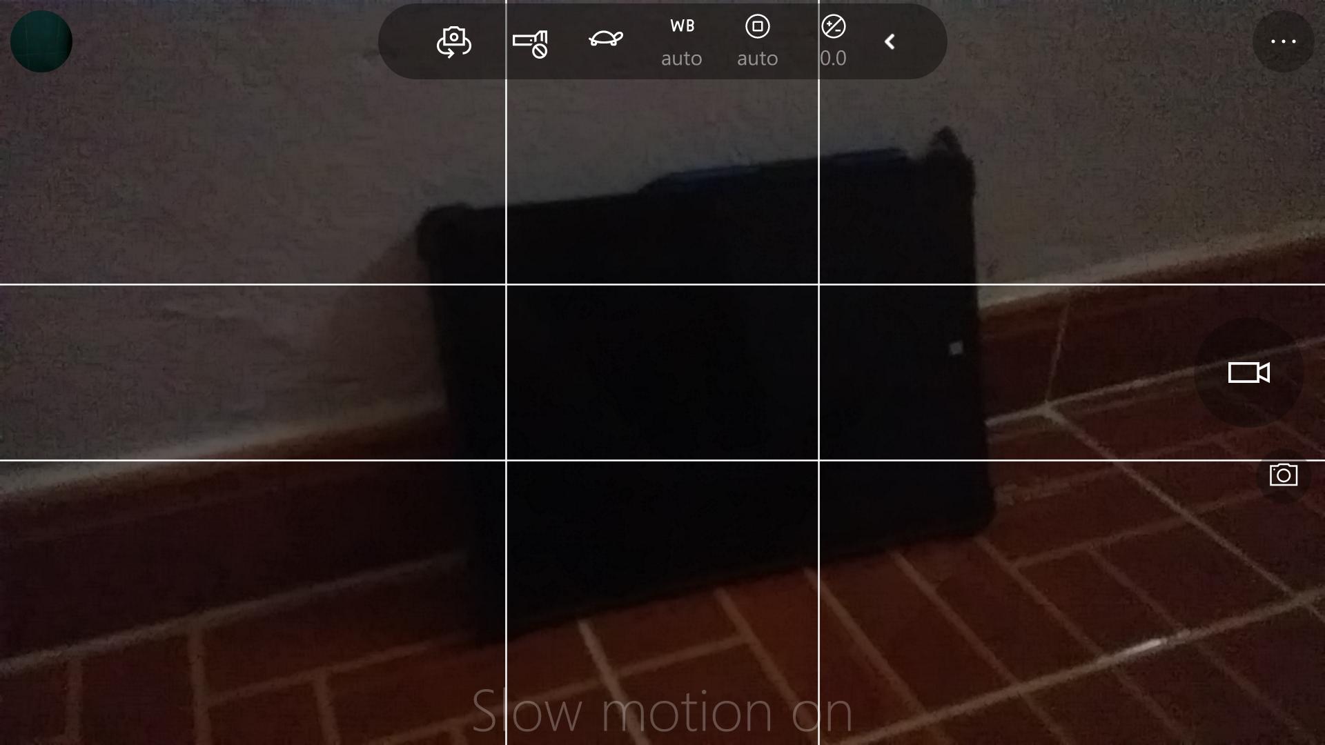 Interfaz de Windows Camera con una tortuga para Slow Motion