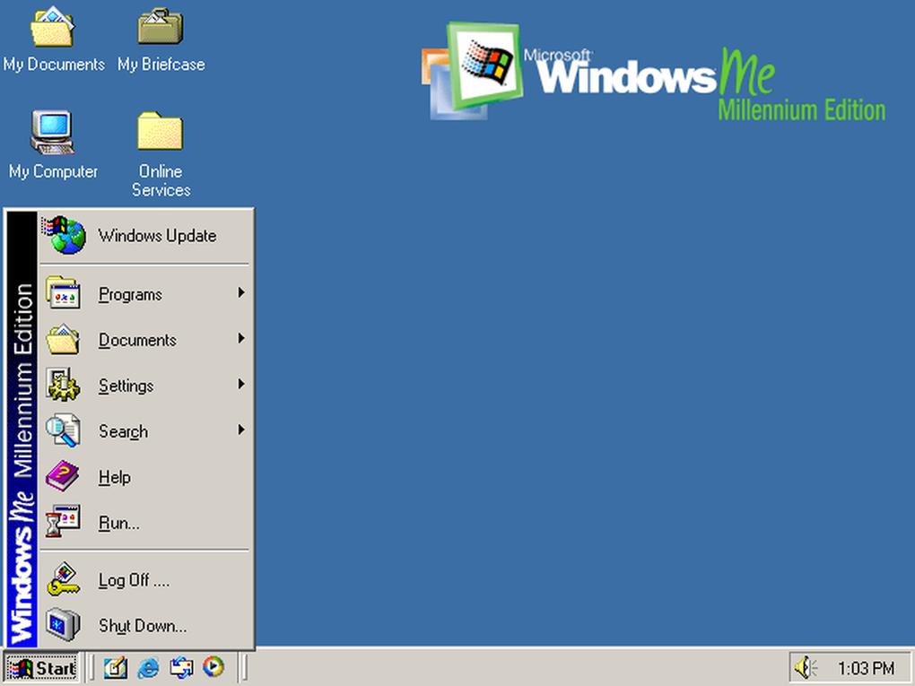 Windows ME se enfocaba en la generación milenaria con mejoras en el apartado multimedia y para el hogar