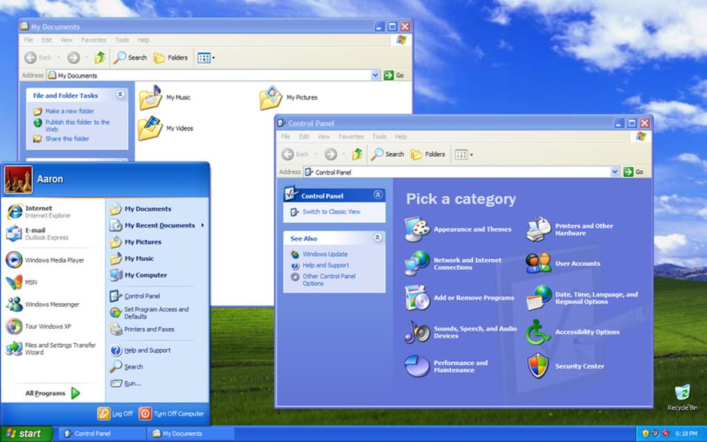 Windows XP combinó los negocios con el hogar,  ofreciendo una mejor interfaz de usuario más visual y colorida, con mejor seguridad y soporte para hardware plug and play