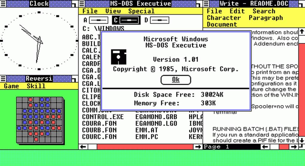 Windows 1.0 introdujo una interfaz gráfica, soporte para mouse e importantes apps