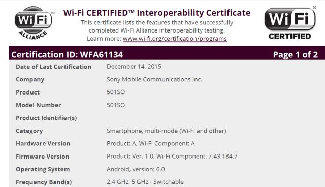 Certificado WiFi para el Xperia Z5 con Android 6.0
