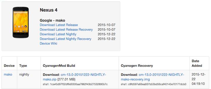 El LG Nexus 4 ahora es soportado por CM13