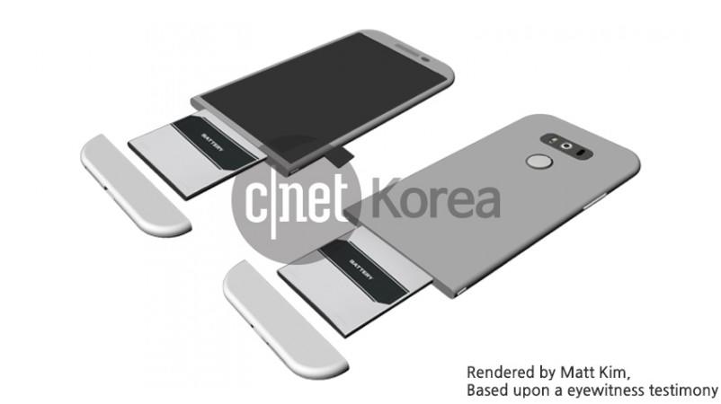 Render del diseño modular para la batería del LG G5