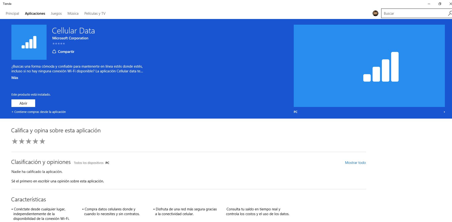 celullar data app para OMV de Microsoft