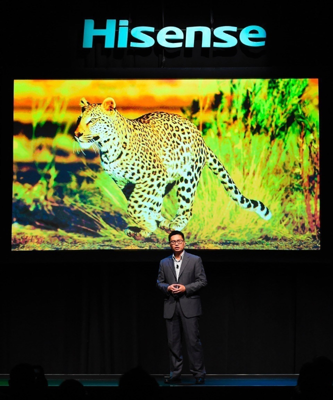 Jerry Liu, CEO, Hisense Americas, unveils the latest innovations in display technology during the Hisense 2016 CES Press Conference at the 2016 International CES inside the Mandalay Bay Convention Center on Tuesday, January 5, 2016, in Las Vegas. (Photo by Jeff Bottari/AP Images for Hisense) (PRNewsFoto/Hisense)