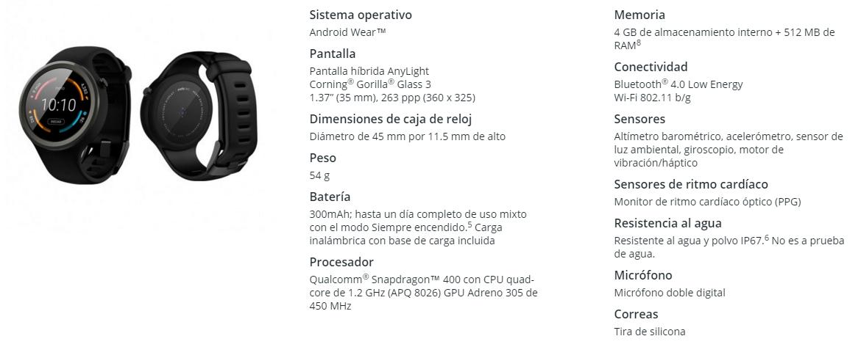 moto 360 sport mexico especificaciones