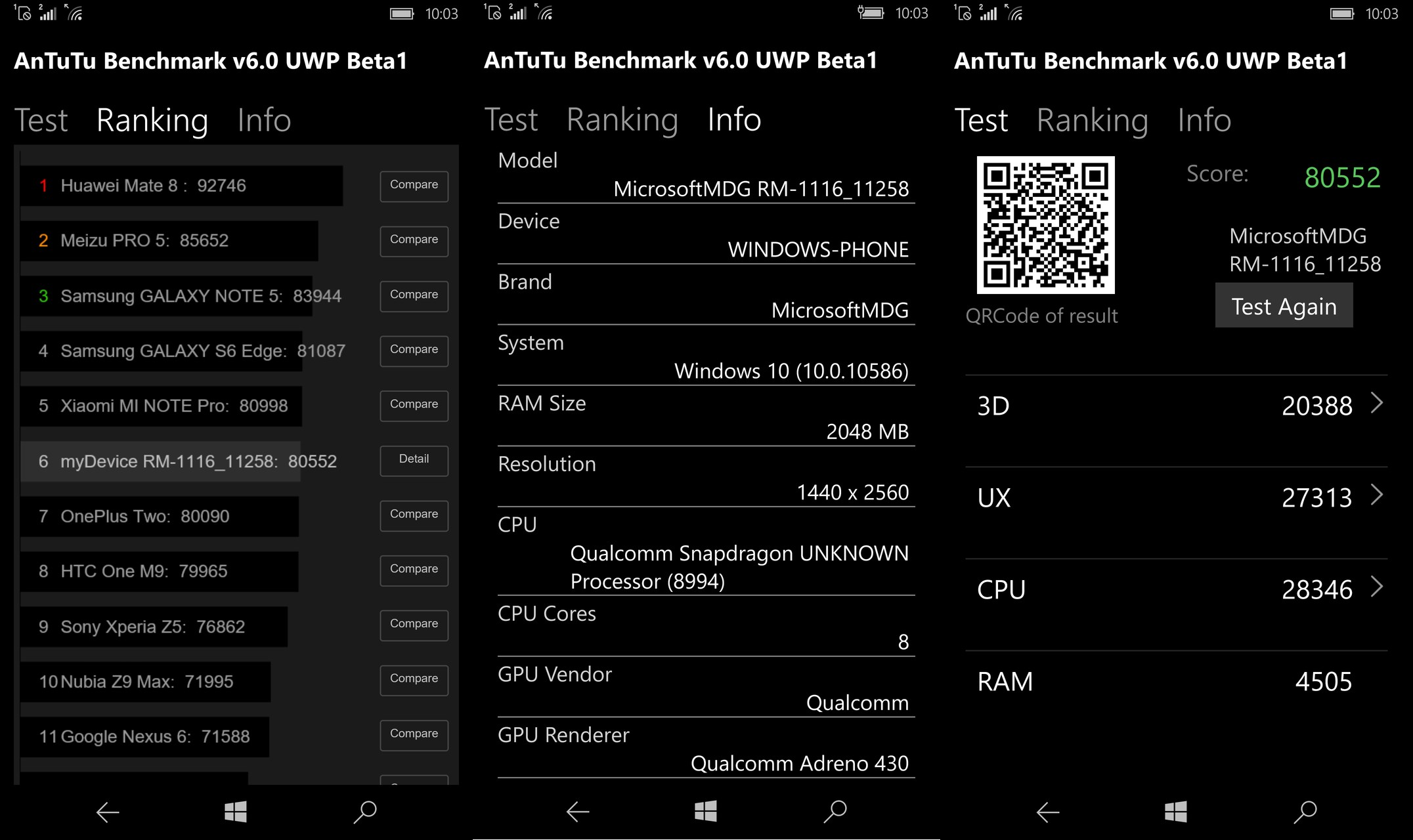 AnTuTu Benchmark V6 Windows 10 Mobile