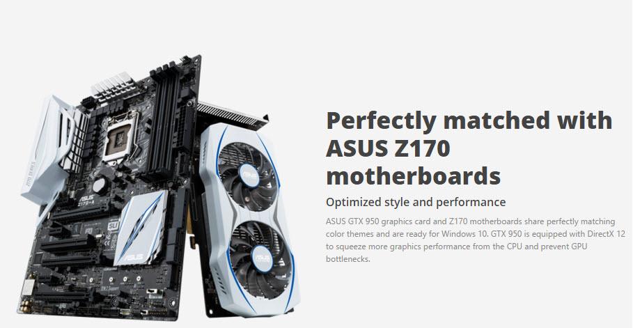 ASUS GeForce GTX 950 combina con ASUS Z170