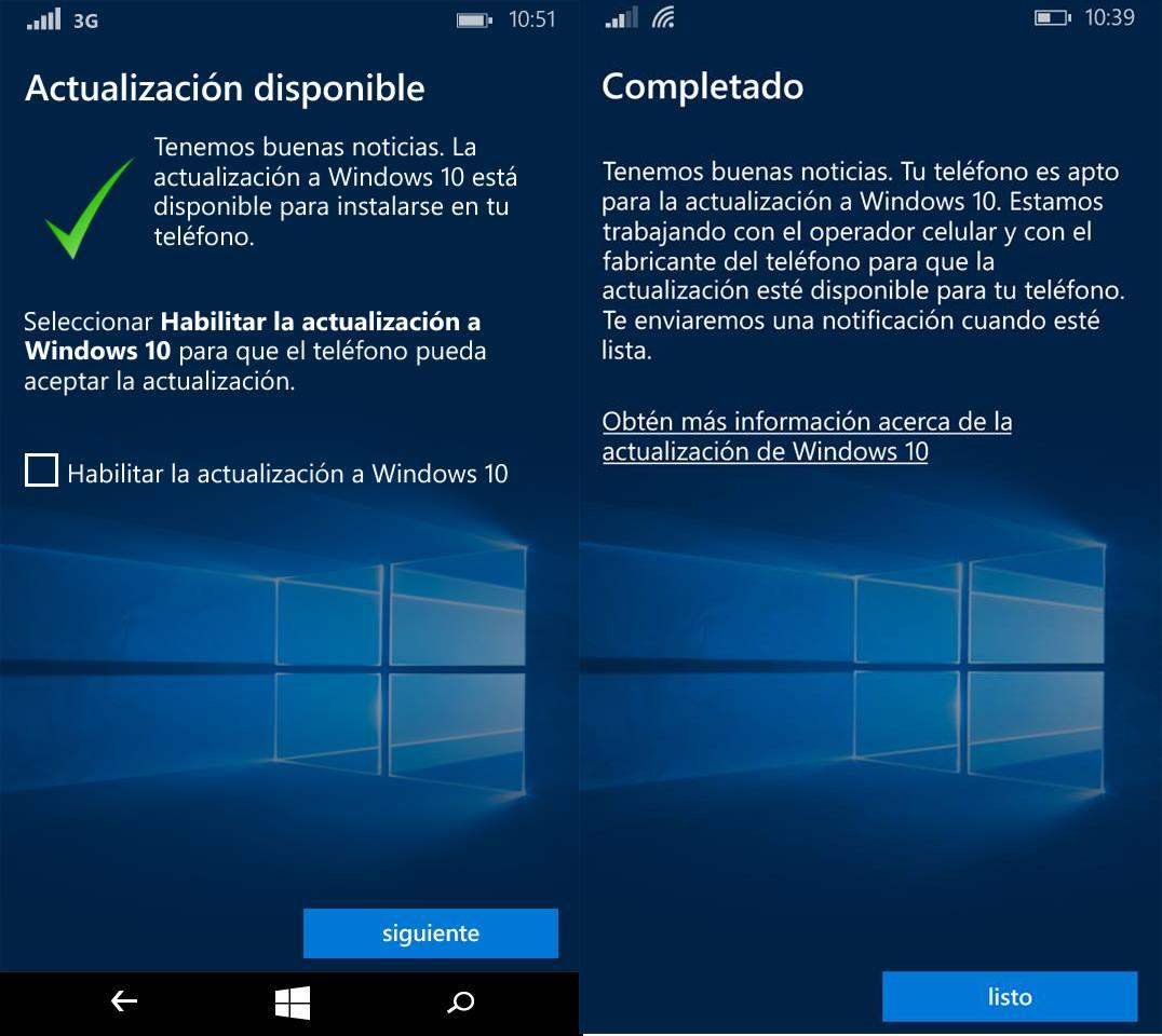 Windows 10 Mobile actualizacion oficial