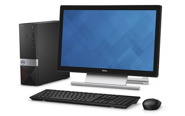 Dell Vostro 3250 Small Form Factor desktop, codename Tahoe Mainstream with red accent color. Other featured products are a Dell S2240T monitor, and Dell KM636 wireless keyboard and mouse, codename Persian.