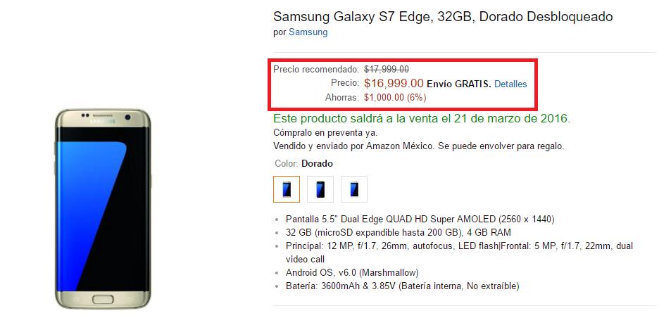 galaxy s7 edge precio amazon mexico