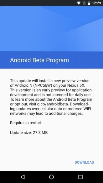 nexus android beta