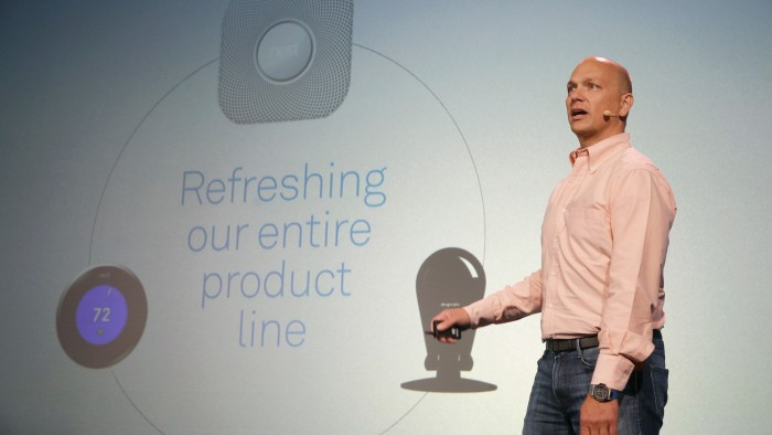 Nest CEO Tony Fadell talks about his company's product updates during a press conference Wednesday, June 17, 2015, in San Francisco. Google's Nest Labs is releasing new versions of its surveillance video camera and talking smoke detector as part of its attempt to turn homes into yet another thing that can be controlled and tracked over the Internet. (AP Photo/Eric Risberg)