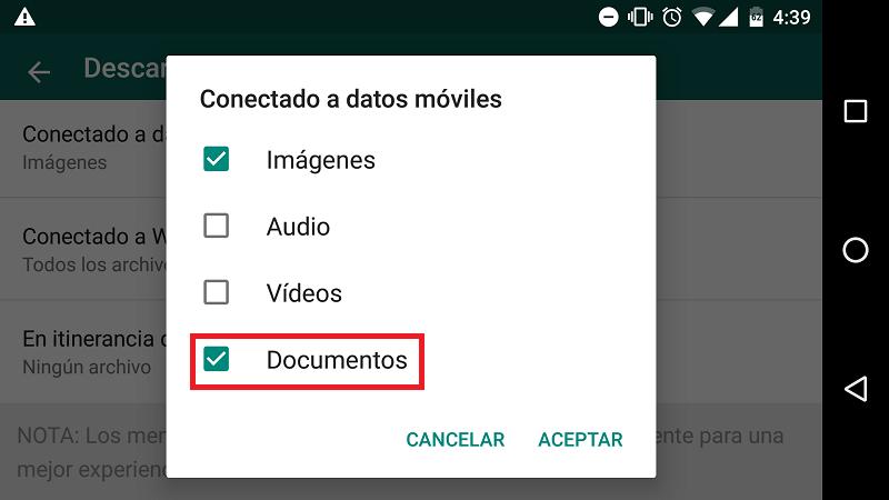 whatsapp descarga documentos