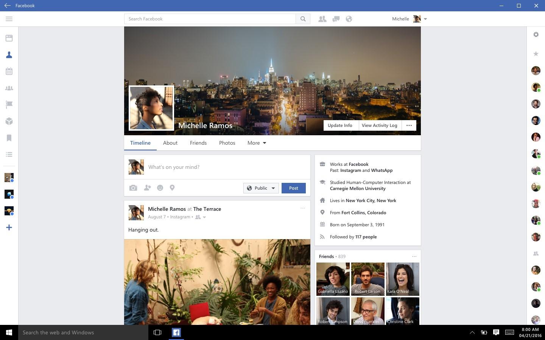 facebook app windows 10
