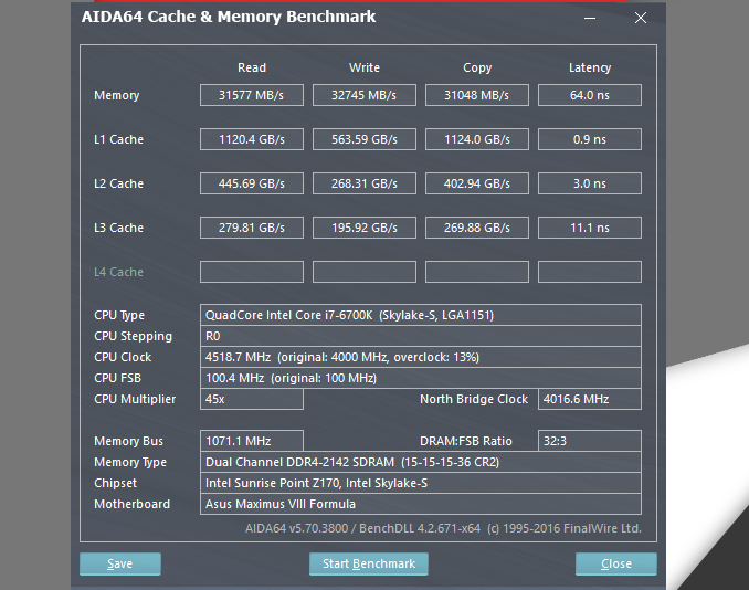 AIDA 64 Extreme Memory Benchmark GSKILL RIPJAWS V 2400 mhz