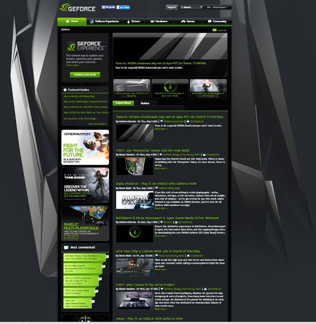 Así luce el sitio web de NVIDIA