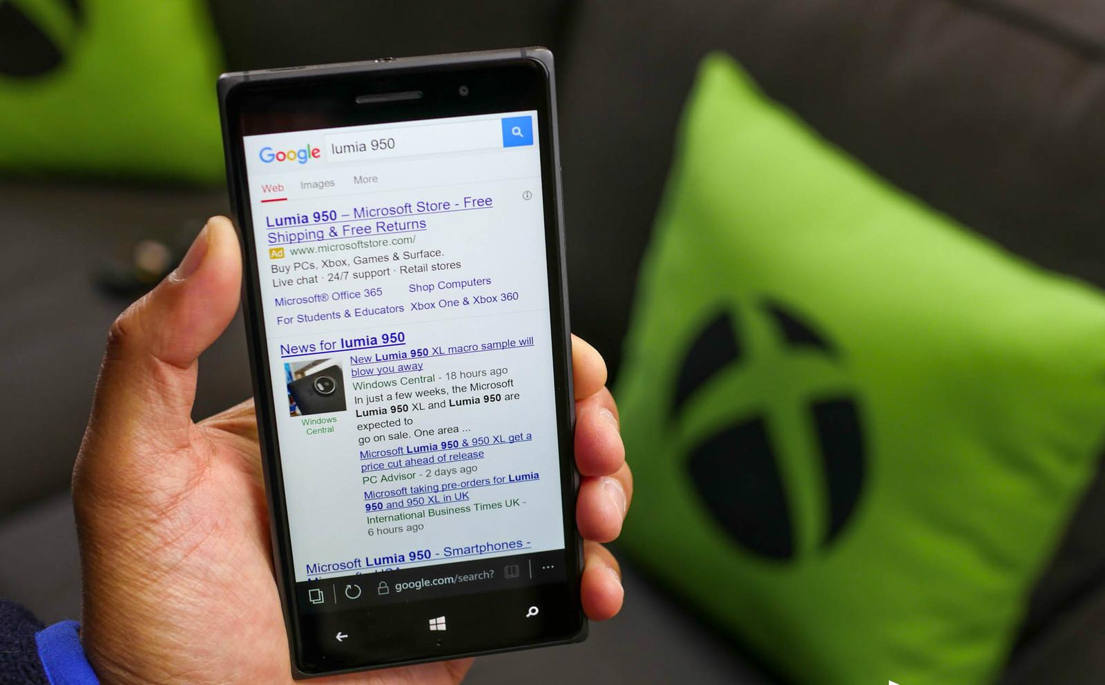 Microsoft Edge para Windows 10 Mobile soportaría extensiones