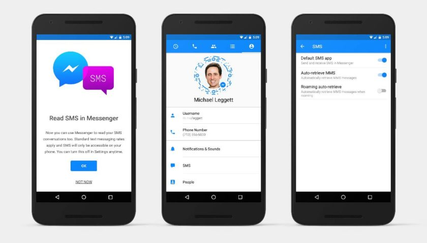 Messenger buscará convertirse en tu aplicación SMS predeterminada