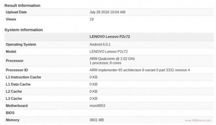 Benchmark Lenovo Vibe P2