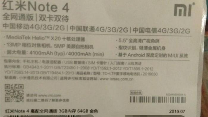 Especificaciones filtradas Xiaomi Redmi Note 4