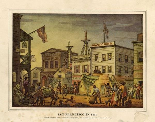 San Francisco, California en 1850 Fiebre del Oro Hotel Niantic