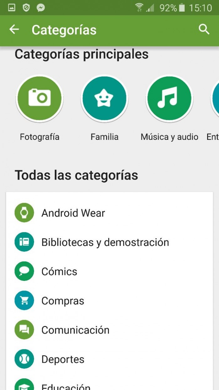categorias android play store