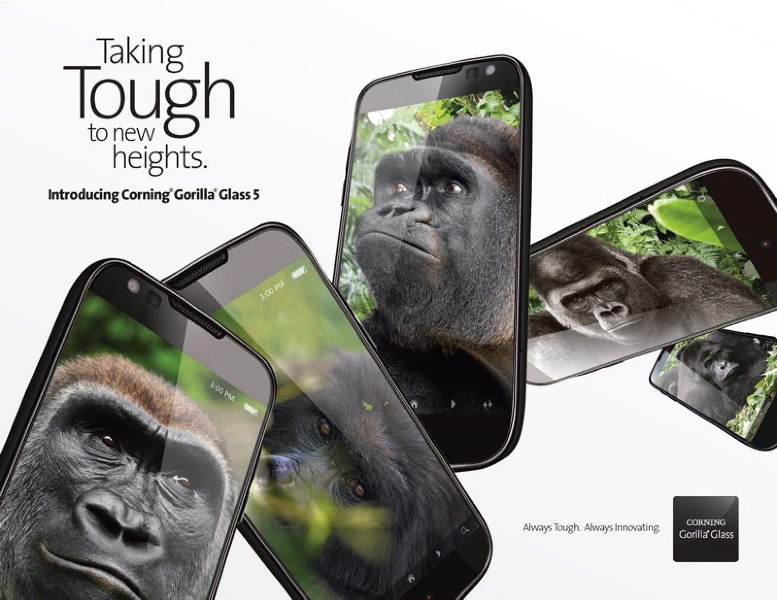 Gorilla Glass 5 resiste caídas de hasta 1.6 metros