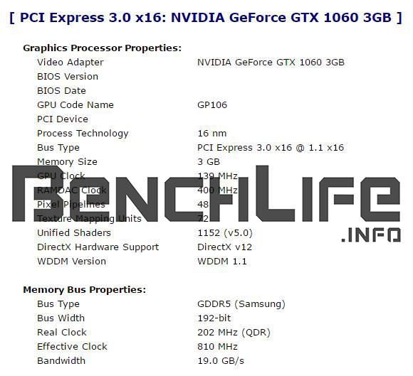 gtx 1060 3 gb especificaciones filtradas