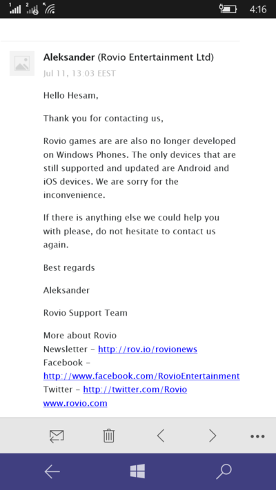 rovio abandona windows phone