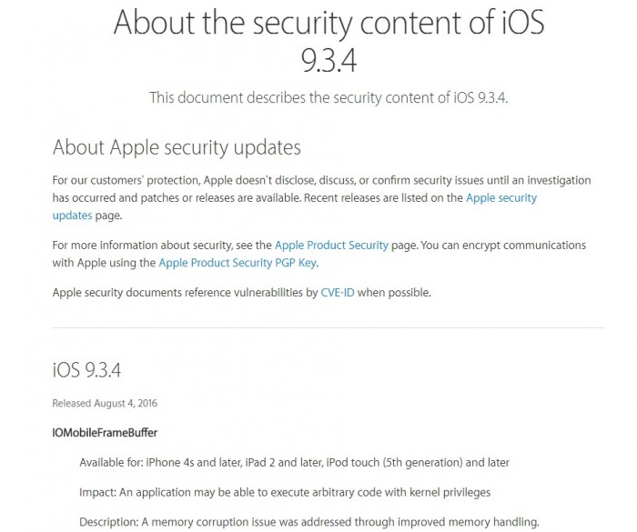 Actualización iOS 9.3.4