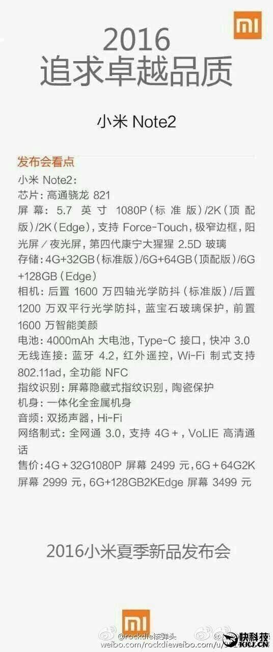 Especificaciones Xiaomi Mi Note 2
