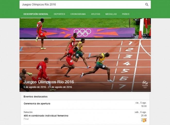 Juegos Olímpicos Río 2016 Google 1