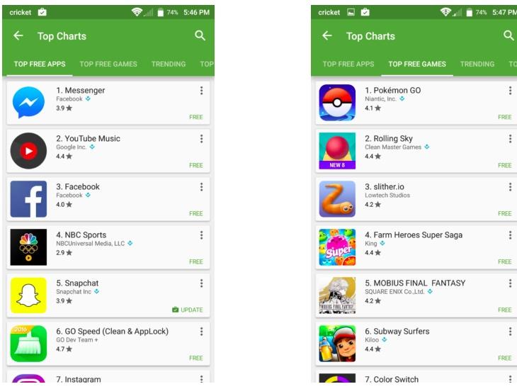 top apps juegos
