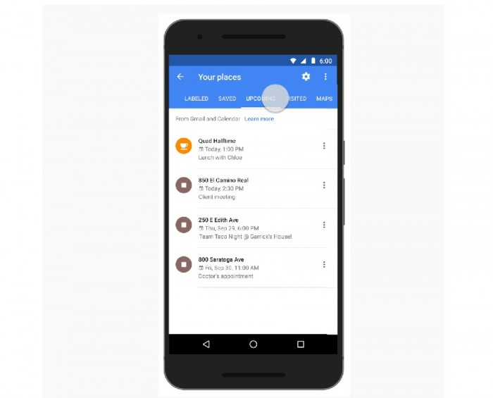 Agenda de Google en Google Maps 1