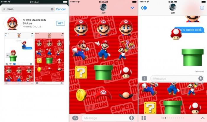 Pack de stickers Super Mario Run iMessage iOS 10