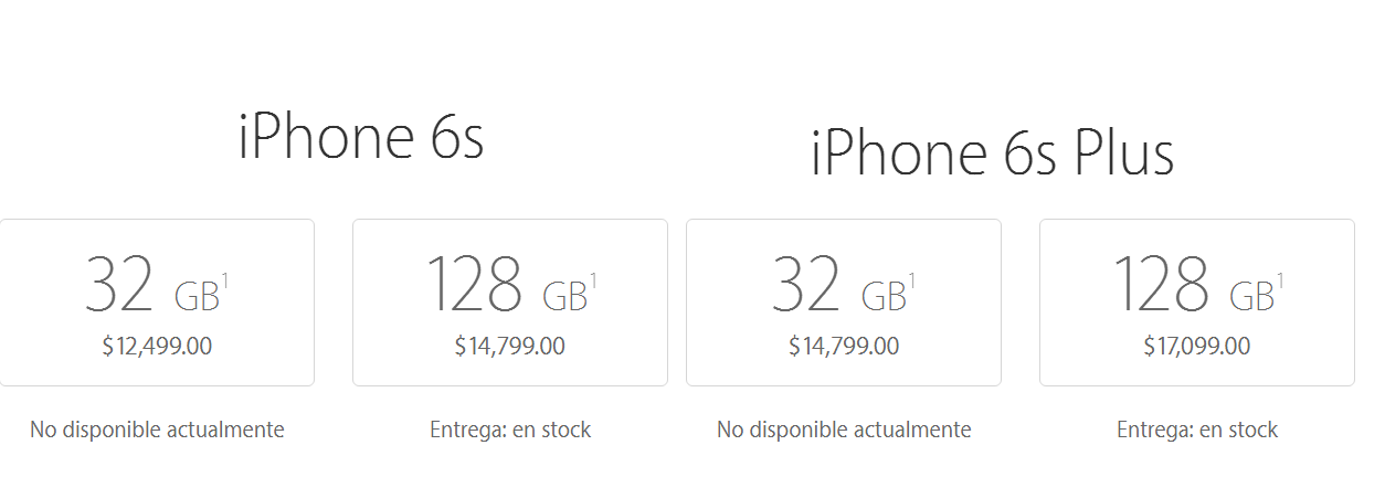 apple store precios iphone 6s iphone 6s plus