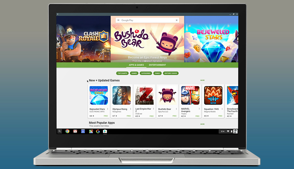 Así luce Play Store en un portátil