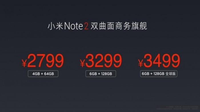 Precio Xiaomi Mi Note 2